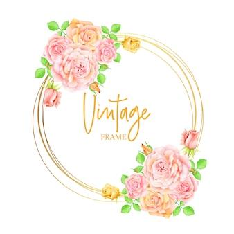 Rosas cor de rosa flores convite de casamento com moldura dourada