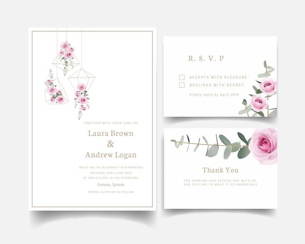 Rosas de convite de casamento floral e folha de eucalipto