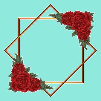 Rosas de ilustração de arte e prêmio de borda quadrada