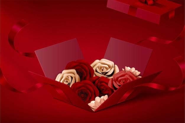 Rosas de papel em caixa de presente aberta em fundo vermelho, ilustração 3d