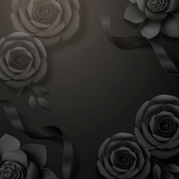 Rosas de papel preto e fundo de moldura de fita na ilustração 3d
