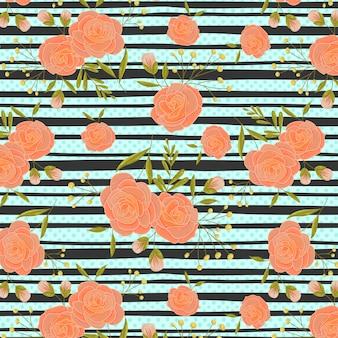 Rosas de pêssego vintage com padrão de listras pretas