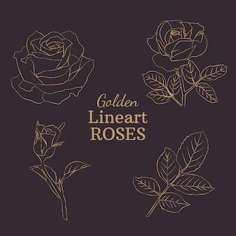 Rosas douradas de lineart