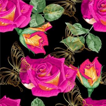 Rosas e borboleta ouro linha padrão sem emenda