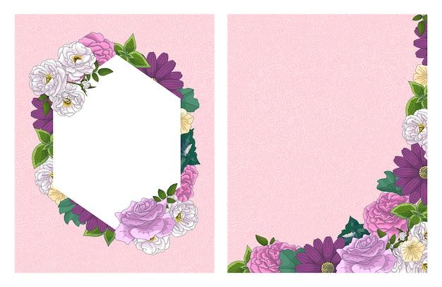 Rosas e coroa de folhas verdes e moldura. modelo decorativo elegante botânico