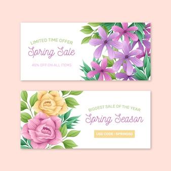 Rosas e flores violetas primavera venda mão desenhada banner
