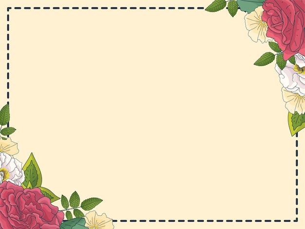 Rosas e quadro de folhas verdes. modelo decorativo elegante botânico