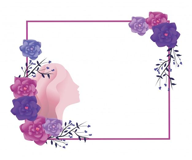 Rosas e silhueta feminina