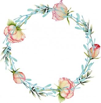 Rosas em aquarela e coroa de ramos azul