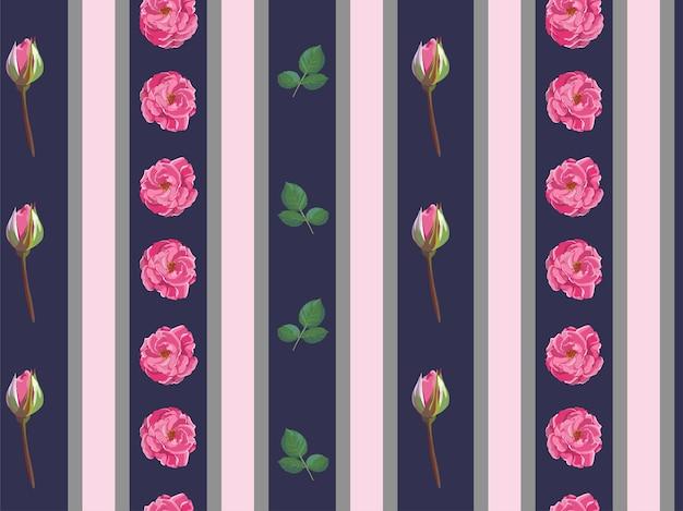 Rosas em flor com vetor de padrão de folhas e botões