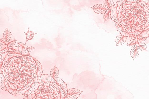 Rosas em pó pastel mão desenhado fundo