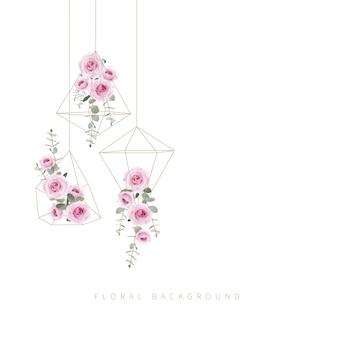 Rosas florais de fundo e folha de eucalipto