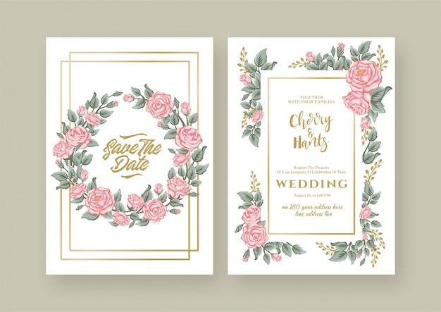 Rosas florais vintage, convite de casamento
