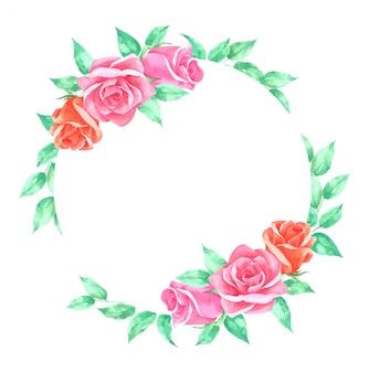 Rosas floral frame mão desenhada pintado em aquarela