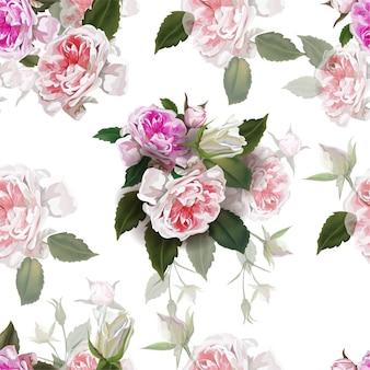 Rosas inglesas flor cor-de-rosa, flores naturais bonitas