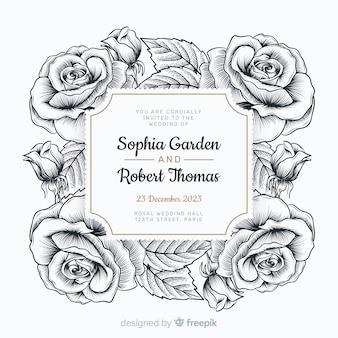 Rosas lindas mão desenhada e um convite de casamento