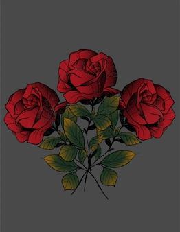 Rosas neo tatuagem tradicional