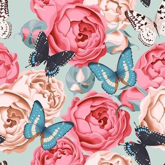 Rosas peônia e fundo sem costura borboleta