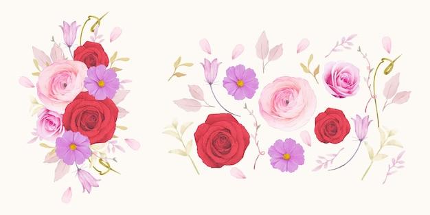 Rosas vermelhas em aquarela e coleção de flores de ranúnculo