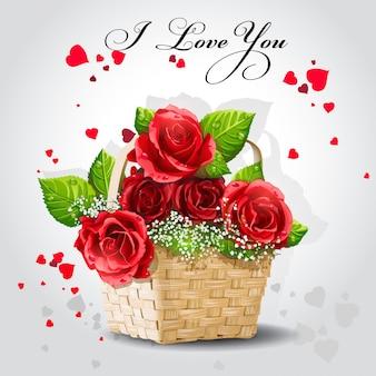 Rosas vermelhas em uma cesta em um fundo cinza