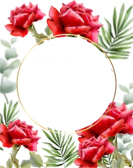 Rosas vermelhas saudação aquarela. decoração de moldura floral vintage. fundo exótico deixa ilustração