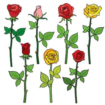 Rosas vermelhas vetor com botões de flores