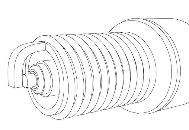 Rosca de vela de ignição de carro de vetor com ilustração de contorno de eletrodo close-up