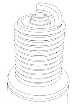 Rosca de vela de ignição de carro vetorial com ilustração de contorno de eletrodo