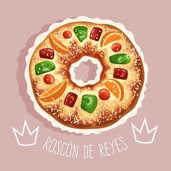 Roscon de reyes desenhado à mão ilustrado