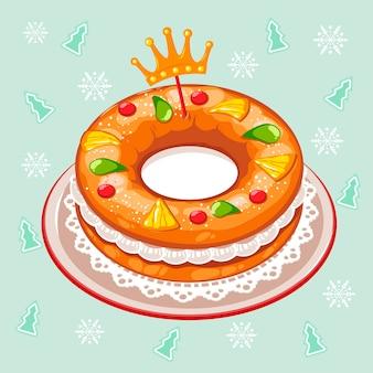 Roscón de reyes desenhado à mão ilustrado