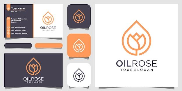 Rose combinada com gotas de óleo. design de logotipo e cartão de visita