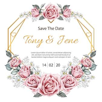 Rose flores vintage cartão de convite de casamento.