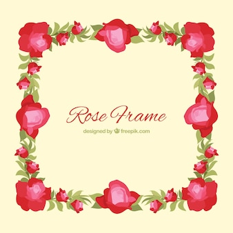 Rose frame em design plano
