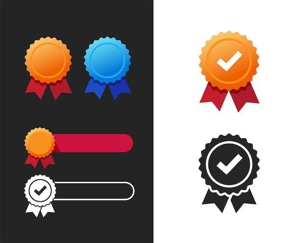 Roseta de prêmio de qualidade ou garantia e ícone de fita de medalha em branco modelo vazio elemento plano