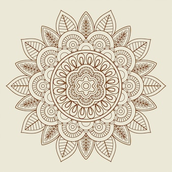 Roseta floral desenhada de mão em cores vintage
