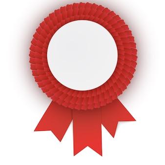 Roseta vermelha colorida com placa de papel vazia.