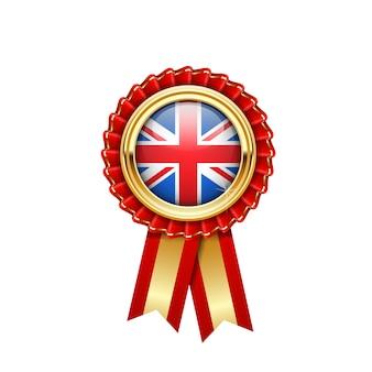 Roseta vermelha com bandeira da grã-bretanha em crachá dourado, prêmio da grã-bretanha ou símbolo de qualidade