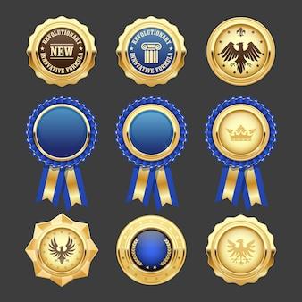 Rosetas de prêmio azul, insígnias e medalhas heráldicas