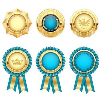 Rosetas de prêmio turquesa e medalhas heráldicas de ouro