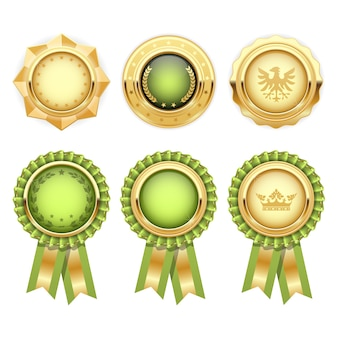 Rosetas de prêmio verdes com modelos de medalhas heráldicas de ouro