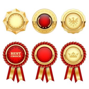 Rosetas vermelhas de prêmio e medalhas heráldicas de ouro e insígnias