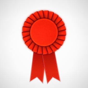 Rosette de matéria têxtil realista vermelho com fitas.