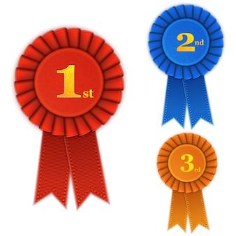 Rosette vencedor conjunto com fitas.