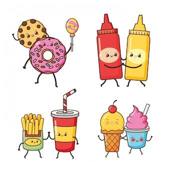Rosquinha, batatas fritas, sorvete comida kawaii, ilustração