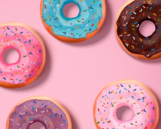 Rosquinhas coloridas polvilhadas em ilustração 3d, vista superior
