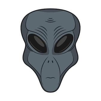 Rosto alienígena ícone de cabeça de extraterrestre humanóide desenhado à mão conceito de invasor espacial marciano