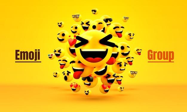 Rosto amarelo piscando do grupo de emoji Vetor Premium