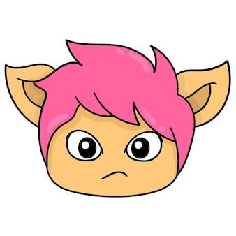 Rosto bonito, cabeça de gato de cabelo rosa, emoticon de caixa de ilustração vetorial. desenho do ícone do doodle