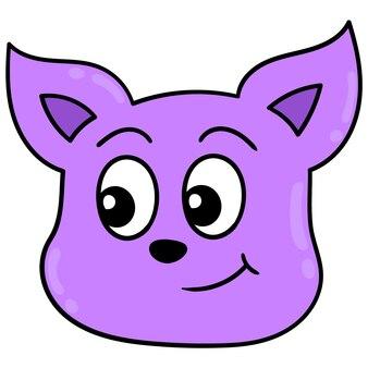 Rosto bonito de cabeça de gato roxo sorrindo, emoticon de caixa de ilustração vetorial. desenho do ícone do doodle