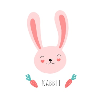 Rosto bonito de um coelho rosa, cenoura.